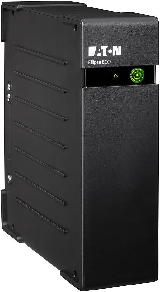 Eaton Ellipse ECO 650 DIN - Sistema de Alimentación Ininterrumpida (SAI) de 650 VA con Protección contra Sobrevoltaje (4 salidas Schuko), Negro, 400 W