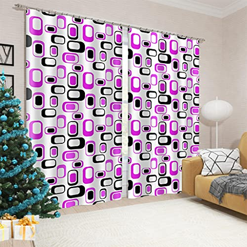 Cortinas Salon 2 Piezas Cubo de Rubik Moderno Cortinas Dormitorio Suave con Ojales,220x215cm Cortinas Opacas Habitación Térmicas Aislantes Frío y Calor