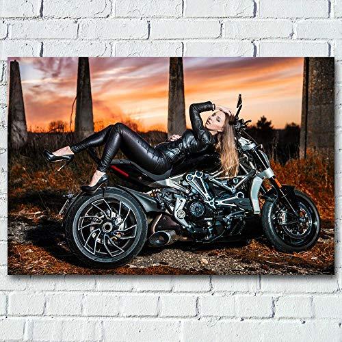 WSHIYI Leinwand Malerei Schwarz sexy Lederjacke Blondes Mädchen und Muskeln Motorrad Ducati Wandkunst Poster und Drucke für Wohnkultur - 60x90cm ohne Rahmen