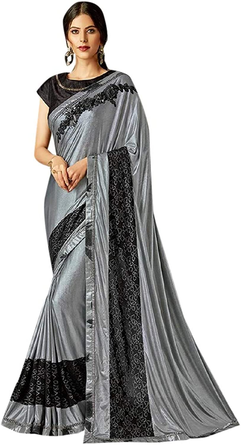 Indian Ethnic Elegant Lycra Silver Saree Hit Designer collection Party wear 7145