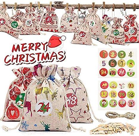 SaiXuan Calendario de Adviento, DIY Bolsa de Regalo, 24 Bolsa de Regalo Navidad Calendario Adviento, Bolsas de Yute Navideño con Pegatinas Adornos, Saquitos de Tela de Regalo para Navidad Decoración