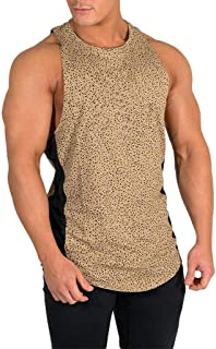 Gogoodgo Mens Breathable Sweat Absorption Sleeveless Tank Top Pocket Cozy Vest Mens Stripes Print Hoodie