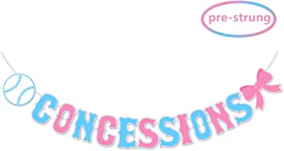Kitticcino Concessions Banner for Baseball or Bows Gender Reveal, Boy or Girl He or She Baby Shower Party Decorations, Sports Party Supplies, Pre Strung & Ready to Hang