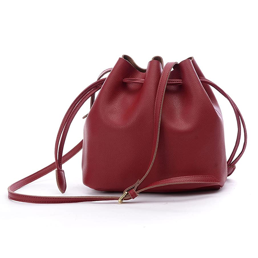 Bucket Bag,YOUNA Genuine Leather Retro Drawstring Bucket Tote Bag For Women With Shoulder Strap