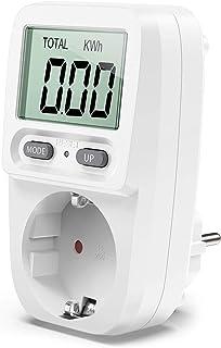 Zaeel Medidor de consumo de corriente del medidor de energía, medidor de consumo de energía eléctrica con pantalla LCD, protección contra sobrecarga, medidor de costo de energía, potencia máxima 3680W