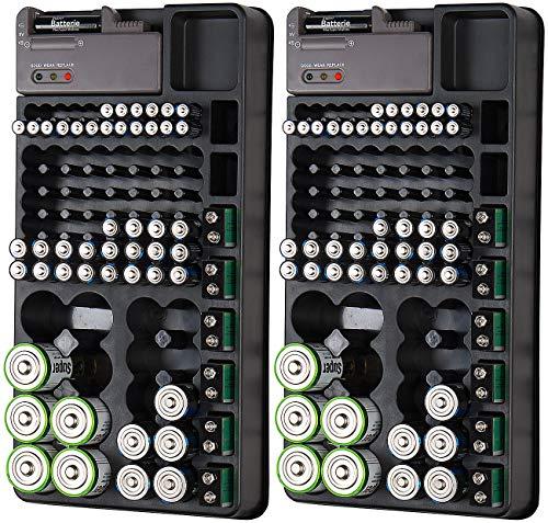 tka Köbele Akkutechnik Batteriebox: 2er-Set 2in1-Batterie-Organizer mit Tester, für je 98 Batterien (Akku-Tester)