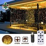 LED Lichtervorhang 3x3M, SOLMORE USB Led Lichterkette IP65 Wasserdicht mit Fernbedienung, Lichterkettenvorhang mit 8 Lichtmodi, Timer, Dimmbar für Weihnachten Zimmer und Außen Deko...