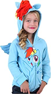 My Little Pony Rainbow Dash Face Kids Sky Blue Costume Hoodie Sweatshirt