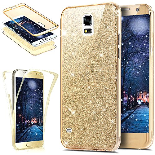 Kompatibel mit Galaxy S5 Hülle,Galaxy S5 Neo Hülle,Full-Body 360 Grad Bling Glänzend Glitzer Klar Durchsichtige TPU Silikon Hülle Handyhülle Tasche Front Back Cover Schutzhülle/S5 NeoGold