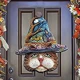 Halloween Wreath for Front Door, Witch Moon Wreath Burlap Pumpkin Door Wreath Witch Cat Wooden Welcome Wreath Sign Outdoor Holiday Decoration Party Hanging Ornaments (C-Cat, 1PC)