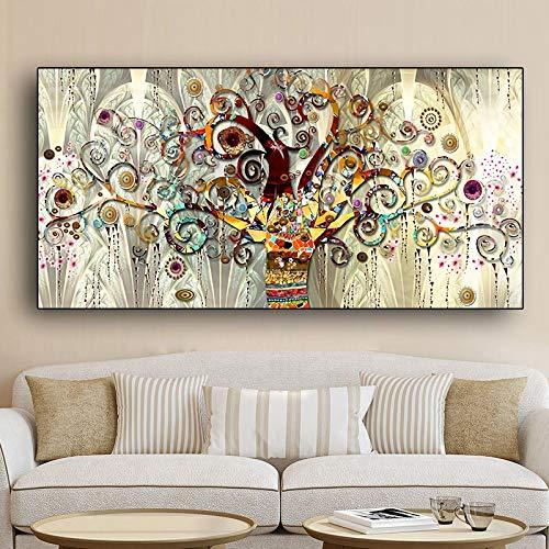 Lienzo de arte de pared Árbol de la vida de Gustav Klimt Paisaje Carteles e impresiones escandinavos Imagen moderna para sala de estar 80x160cm sin marco