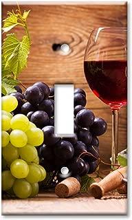 Art Plates Brand Single Toggle Switch / Wall Plate - Wine & Cheese