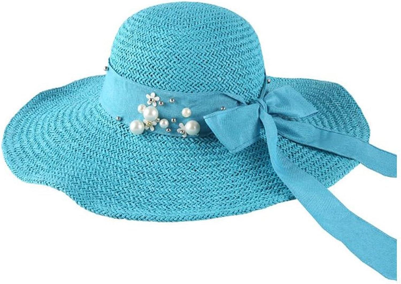 CJC Sun Hats Sun Hat Womens UPF50+ Sun Predection Summer Paper Straw Braided Wide Brim Foldable Adjustable
