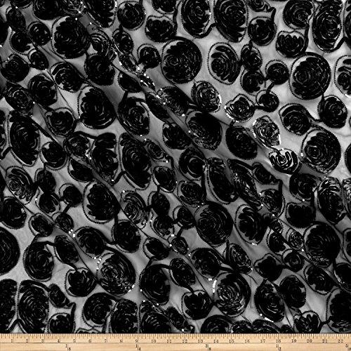 Fabric 0545806 Sutash Sequin Mesh Lace Black Yard