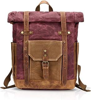 FANDARE Mode Schultasche Herren 15.6 inch Laptop Rucksack Grosse Kapazität Reiserucksack Outdoor Trekkingrucksacke Segeltuch Rot