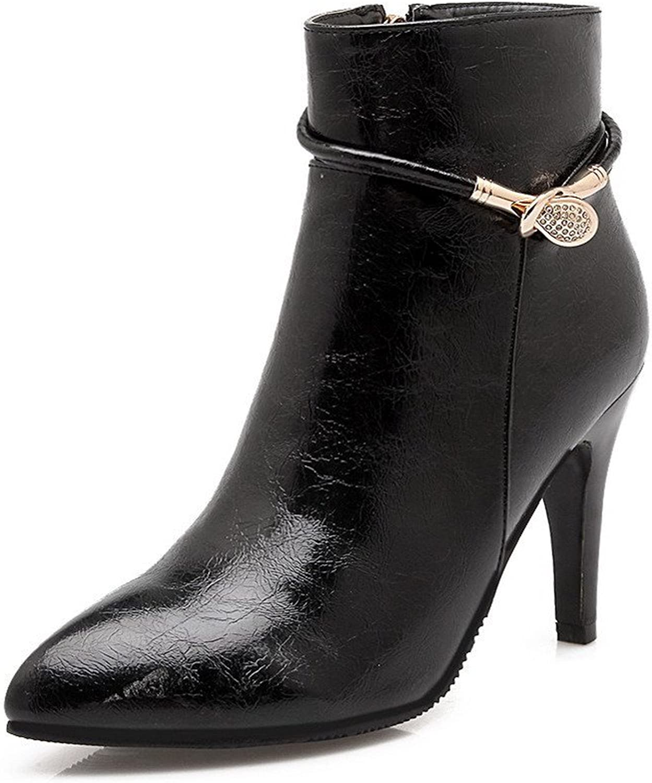 AllhqFashion Women's Solid PU High-Heels Zipper Pointed Closed Toe Boots