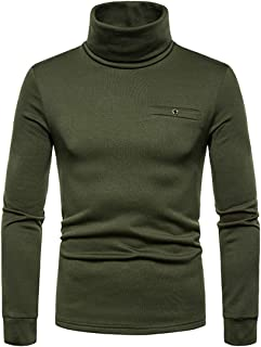 JinFZ Men's Pullovers High Neck Solid Color Slim Fit Sweatshirt Spring and Autumn Casual Comfortable Soft All-Match Pullov...