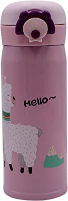 Amamcy Cute Alpaca Pattern Stainless Steel Thermos Cup Mug Vacuum Insulated Mug Water Beverage Bottle for Women Kids Girls, 14.8oz/370ml