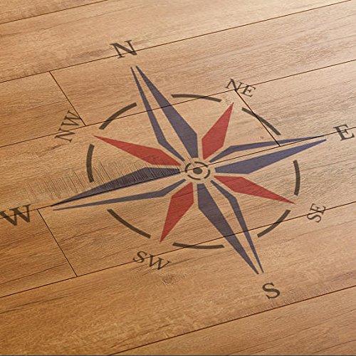 CraftStar Schablone, Motiv: nautischer Kompass, Windrose, wiederverwendbar, große Größe, zum Verschönern des Zuhauses, Mylar, A1