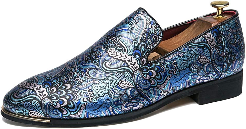 NDHSH Herren Spitze Zehen Schuhe PU Leder Slipper Rauchen Hausschuhe Floral Glitter Schuhe stilvolle Sommer Party Club Driving Schuhe,Blau-42