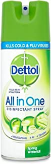DETTOL All in One Disinfectant Spray, Spring Waterfall Scent - 400 ml Bottle (Pack of 4)