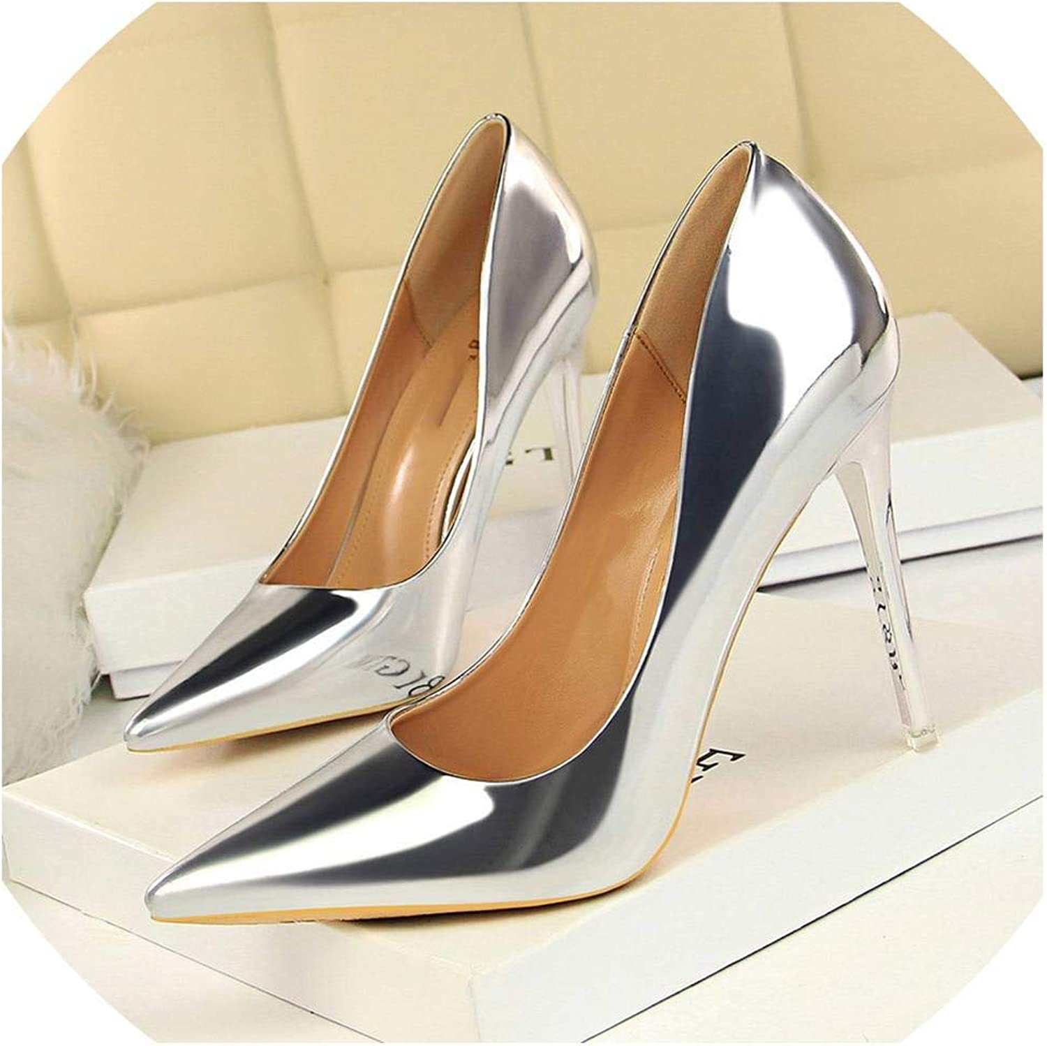 Fan-Shu Patent Leather Thin Heels Office Women Pumps High Heels Women's Pointed Toe Sexy shoes Shallow