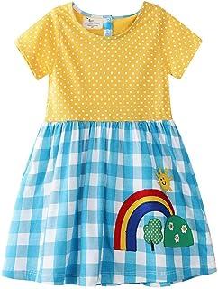Vestidos De Niña De Los Niños del Verano del Algodón Ropa Impreso Rainbow Beach Vestido De Niña De La Falda Corta Camisa D...