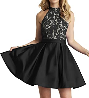 Homecoming Dress High Neck Short Cocktail Dress Sleeveless Lace Homecoming Dresses