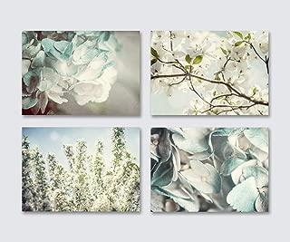 Blue Shabby Chic Wall Decor Set of 4 Unframed 5x7 Flower Prints. Hydrangea, Cherry and Dogwood Blossom Botanical Art for Bedroom, Bathroom or Nursery.