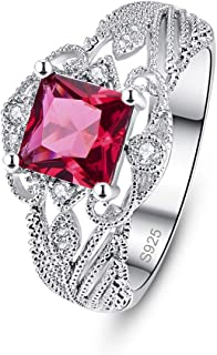 925 Sterling Silver Women Princess Cut Simulated Ruby Filigree Leaf Band Engagement Ring