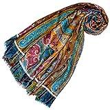 LORENZO CANA Pashmina de 50% Cachemire et 50% Soie pour la femme – écharpe avec des motifs indiens et bouddhistes - 70 cm x 180 cm – une sensation de luxe en bleu orange jaune rose bronze