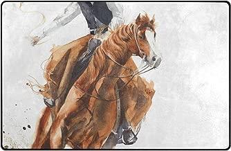 JOSENI Non-Slip Area Rugs Cowboy Riding Horse Ride Calf Roping Floor Mat Living Room Bedroom Dinning Kitchen Carpets Doormats 2'x3'