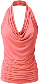 EIMIN Women's Casual Halter Neck Draped Front Sexy Backless Tank Top (S-3XL)