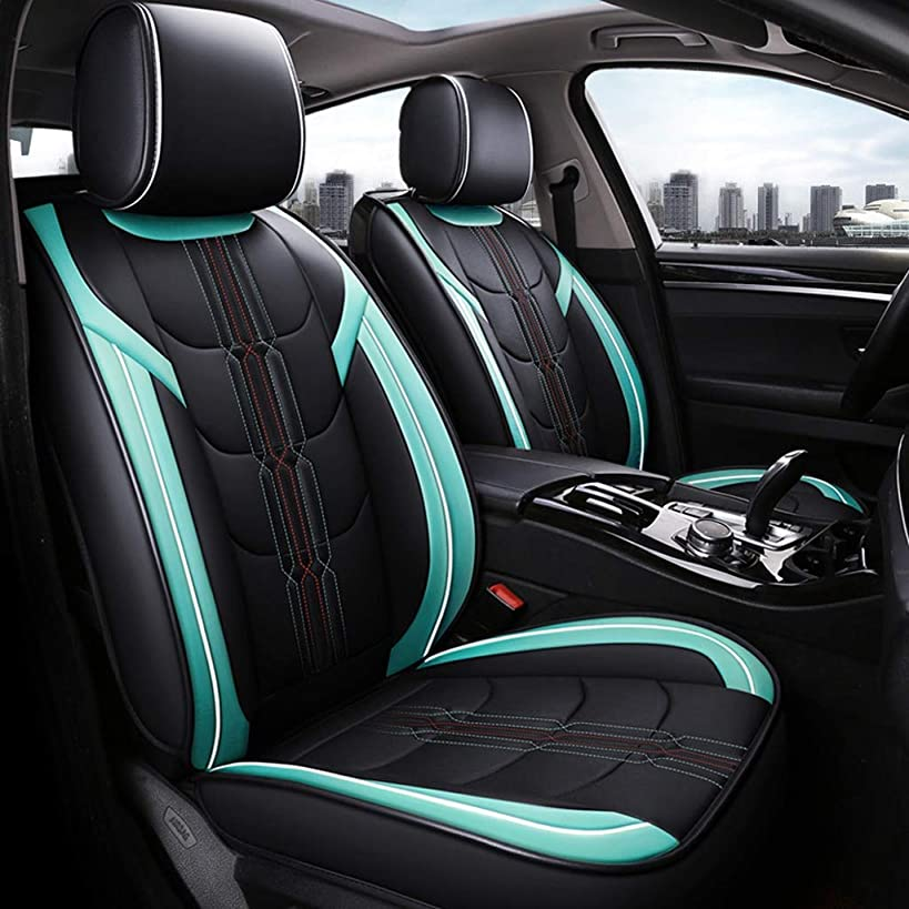 GLJJQMY Car Seat Cover Four Seasons Pad Compatible with Airbag Seat Protector Waterproof Front and Rear 5 Seat Full Set of Universal Leather car Seasons seat Cover (Color : Green)