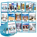 Richardy 30PCS/Set Places&Building Kids Gifts English Flash Cards Pocket Card Educational Learning Baby Toys for Children Pre-Kindergarten