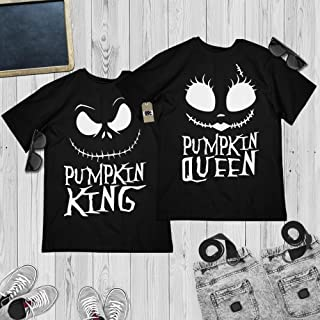 Pumpkin King And Queen Couple Halloween Costume Matching Jack-Sally Pajamas Outfit Customized Handmade Hoodie/Sweater/Long Sleeve/Tank Top/Premium T-shirt
