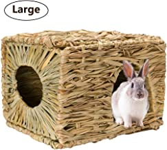 Tfwadmx Rabbit Grass House, Extra Large - Natural Hand Woven Seagrass Play Hay Bed, Hideaway Hut Toy for Bunny Hamster Guinea Pig Chinchilla Ferret