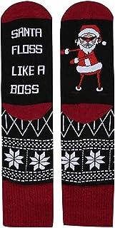 SilenceID, Calcetines de Navidad unisex divertidos con texto impreso de Papá Noel, fantasía, calcetines de algodón transpirables para regalos de Navidad
