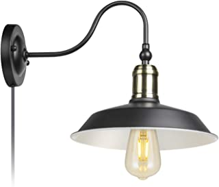 Antique Brass and Black Industrial Rustic Wall Lamp Antique Farmhouse Wall Sconce Lighting Gooseneck Wall Light Fixtures E26/E27 Base for Indoor Use (Plug-in 1 Pack)