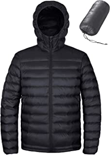 Men's Hooded Packable Down Jacket Water Resistant Lightweight Insulated Winter Puffer Coat Outdoor