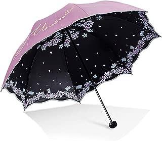 XingKunshop Umbrella Mini Three Fold Umbrella, Repellent Umbrellas Sun Protection with Black Glue Anti UV Coating Travel Umbrella, Blocking UV Summer,Strong Windproof,Outdoor (Color : Pink)