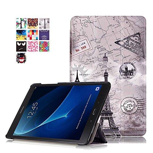 Skytar Funda para Galaxy Tab A6 10,1 T585N - Protección Carcasa Smart Cover Case de PU Cuero Stand Protectora para Samsung Galaxy Tab A6 10.1 SM-T580N / SM-T585N Tablet,Torre de Vintage
