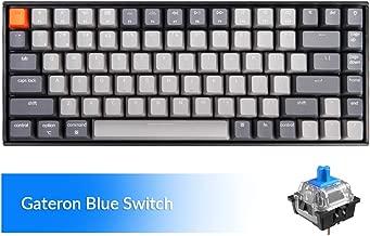 Keychron K2 Wireless Mechanical Keyboard with White LED Backlit/Gateron Blue Switch/Wired USB/Anti Ghosting /84 Key N-Key Rollover, Bluetooth Gaming Keyboard for Mac Windows PC Gamer