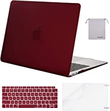 MOSISO MacBook Air 13 inch Case 2019 2018 Release A1932 with Retina Display, Plastic Hard Shell & Keyboard Cover & Screen Protector & Storage Bag Compatible with MacBook Air 13, Marsala Red