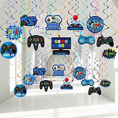 30 Pieces Video Game Hanging Swirl Decorations Supplies, Game Controllers Sign Game on Theme Birthday Foil Ceiling Streamers for Boys Gamer Video Game Birthday Party Supplies Decorations (Blue)