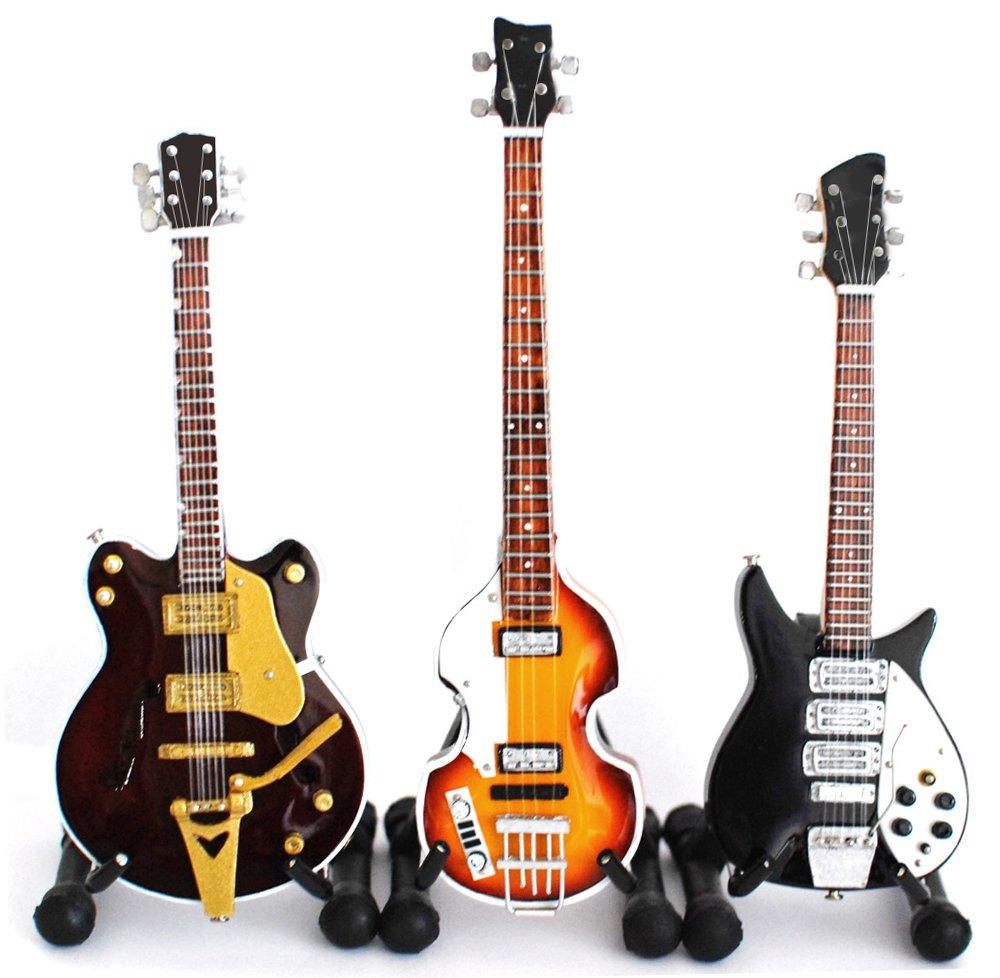 BT The Beatles Juego de 3 Miniatura Guitarra Fab Cuatro Super Mini ...