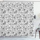ABAKUHAUS Lama Duschvorhang, Doodle Alpaka Design, mit 12 Ringe Set Wasserdicht Stielvoll Modern Farbfest & Schimmel Resistent, 175x220 cm, Weiß Schwarz