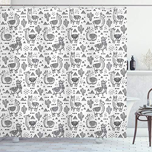 ABAKUHAUS Duschvorhang, Abstrakte Dreiecke mit Gekritzel Art Alpakas im Einfarbigen Design Karikatur Muster, Blickdicht aus Stoff mit 12 Ringen Waschbar Langhaltig Hochwertig, 175 X 200 cm