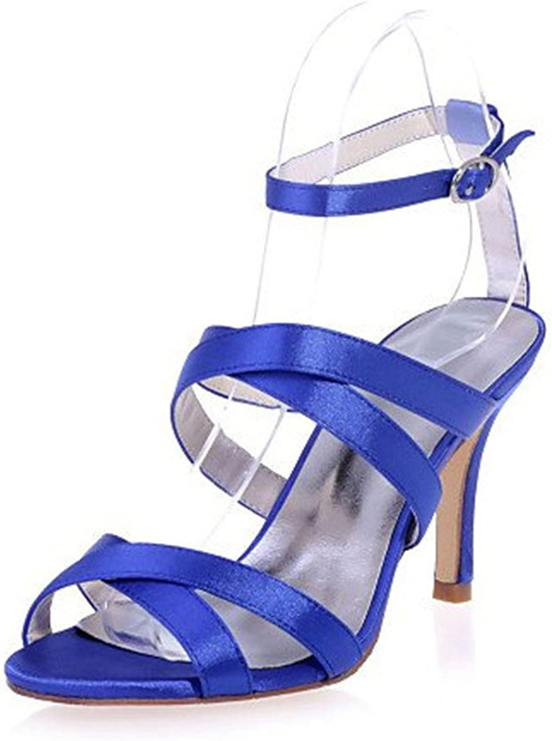 Sandals High Heels Satin Open Toes Stlletto Heel Platform PU Waterproof Wedding Party Dating Office Women Bride Girls Gift bluee,bluee,EU44
