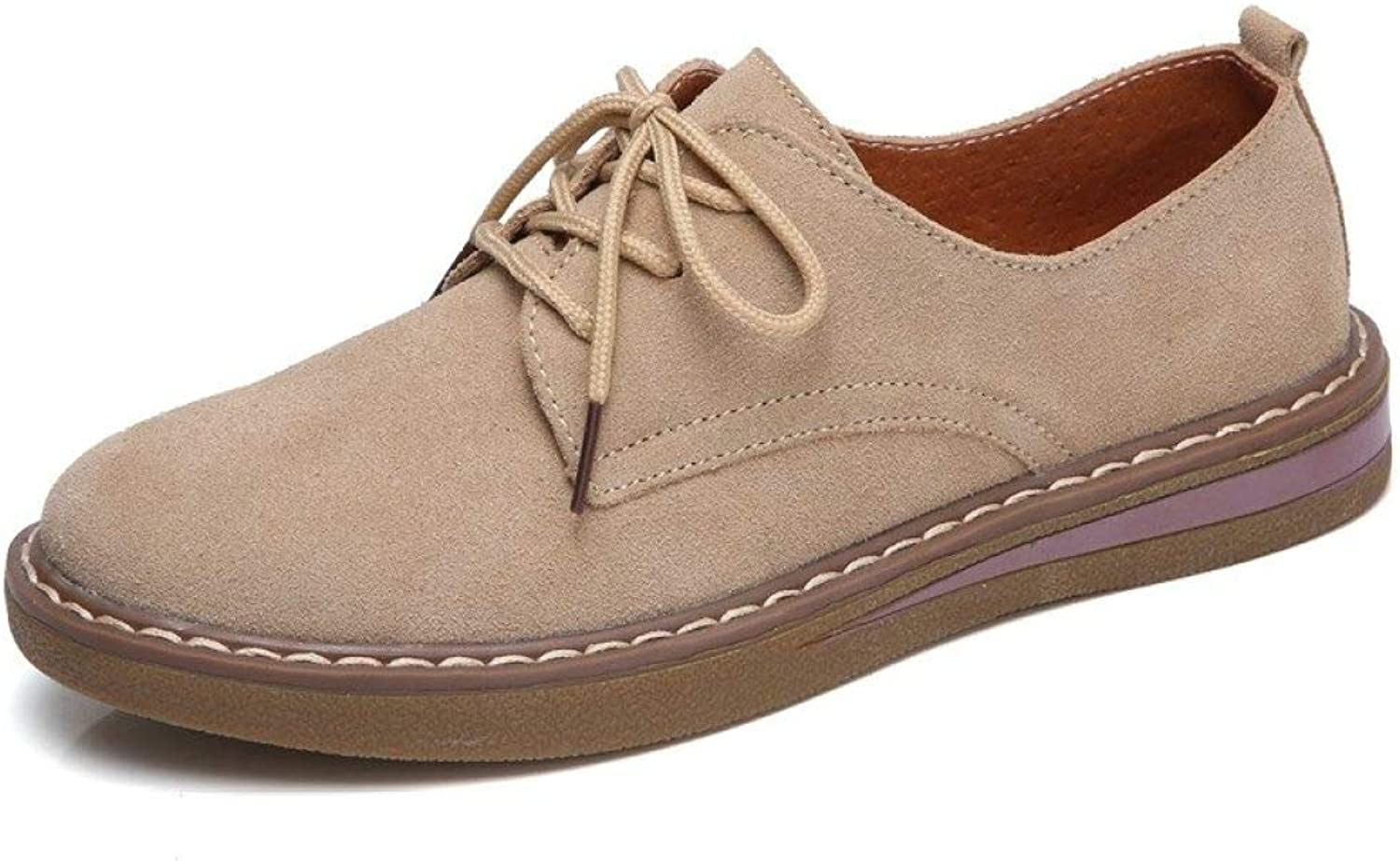 Fay Waters Women's Suede Round Toe Oxfords Lace Up Plain Toe Casual Classic Flat shoes